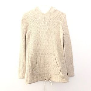 Roots Canada Small Knit Hoodie Sweater Cream